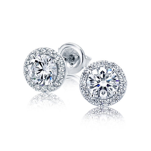 Sterling Silver Diamond Simulant CZ Stone,  Stud Halo Earrings for Women