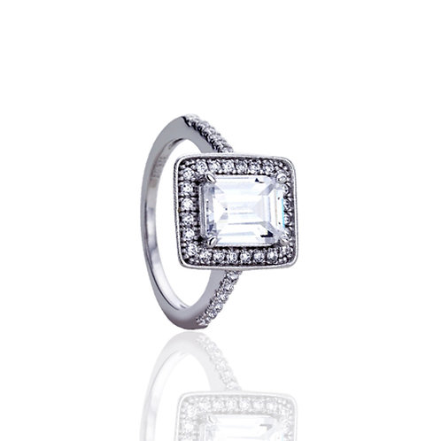 Silver Rhodium Plated Simulated Emerald CZ Vintage Cocktail Ring for Women