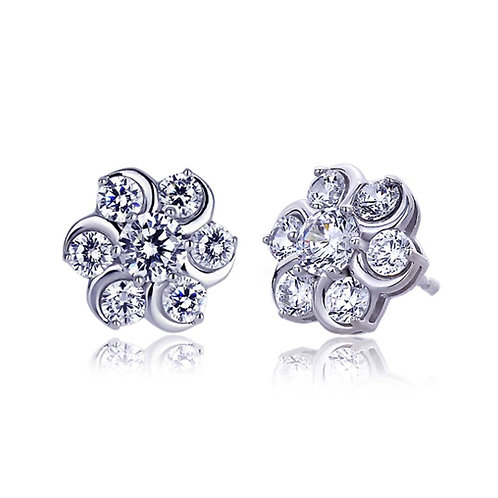 Platinum Plated Sterling Silver Round CZ Prong Set Cluster Flower Stud Earrings