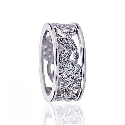 Vintage Platinum Plated Silver Wedding Band, CZ Flower Filigree Eternity Band