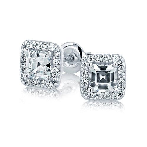 Rhodium Plated Sterling Silver Stud Earrings, Emerald CZ Halo Earrings for Women