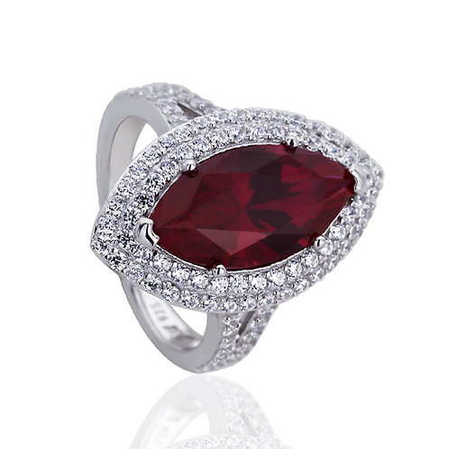 Platinum Plated Silver 3.8 Carat Ruby Marquise CZ Engagement Ring Set for Women