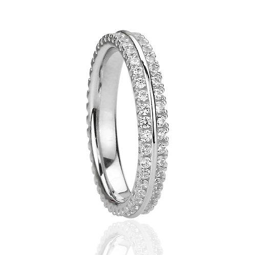 Diamond Simulant Eternity Band, Platinum Two Row Setting Silver Wedding Ring