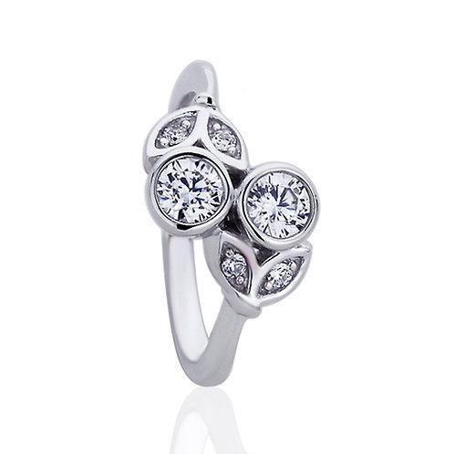Platinum Plated Silver CZ Bezel Bypass Wedding Engagement Ring for Women
