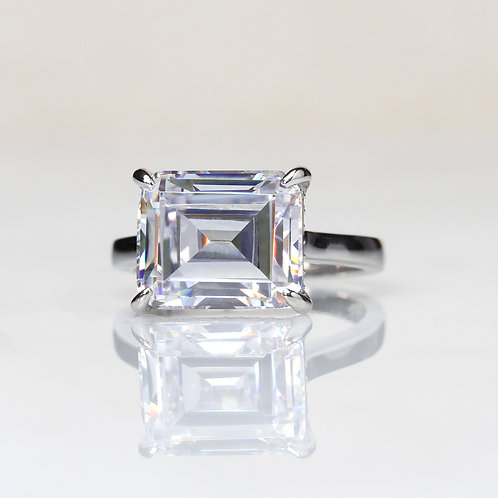 Emerald Cut Sterling Silver Diamond Simulant, Large CZ Solitaire Ring for Women