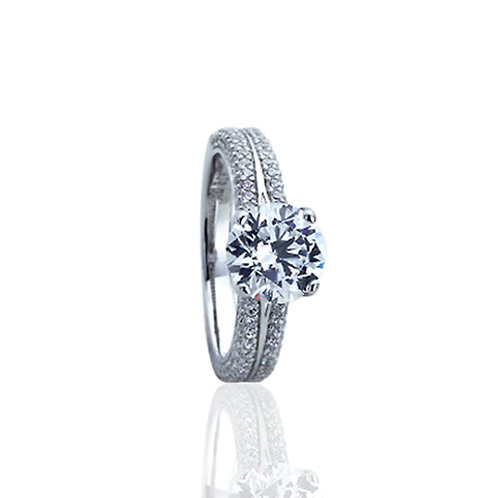 Sterling Silver Rhodium Plated   Round CZ Solitaire Engagement Ring for Women