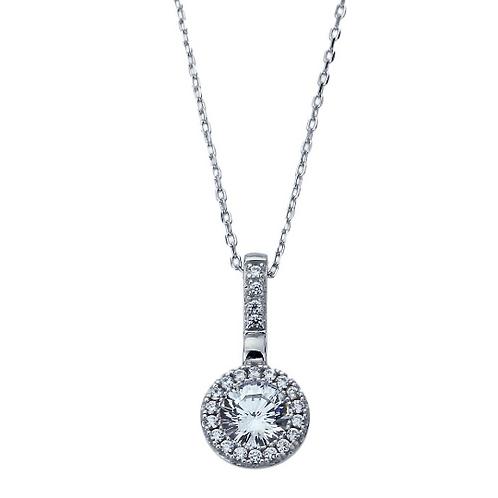Platinum Plated Sterling Silver Necklace, Diamond Simulant 16 Cupid Arrow Cut CZ