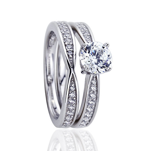 Platinum Plated Sterling Silver CZ Wedding Engagement Bridal Ring Set for Women