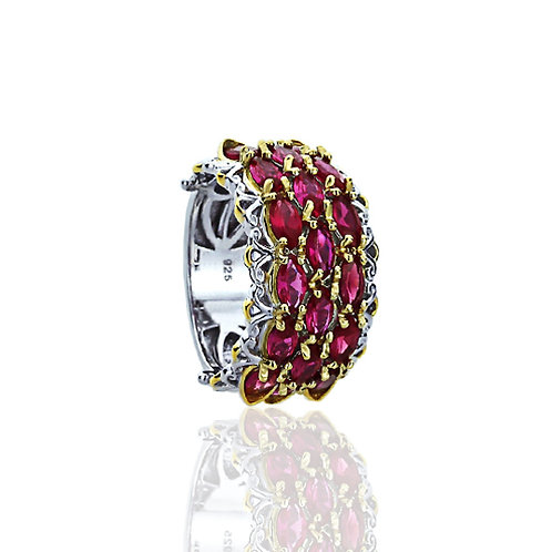 Silver 14K Gold Plated Marquise Simulated Ruby Anniversary Ring for Women