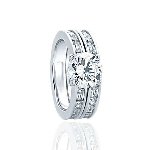 Sterling Silver CZ Channel Bridal Wedding Ring Set for Women
