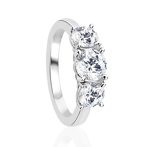 Platinum Plated Silver Three Stone 2 Carat CZ Wedding Engagement Ring for Women