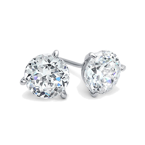 Rhodium Plated Silver Round CZ Three Prong Basket Stud Earrings for Women