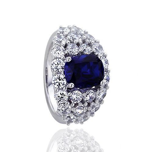 Platinum Plated Silver Sapphire Oval CZ Cocktail Ring for Women