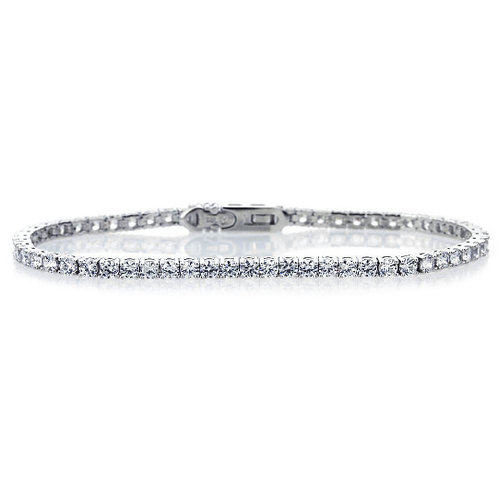 "7.5"" Rhodium Plated Sterling Silver 3 mm Round Stone, Tennis Bracelet for Women"
