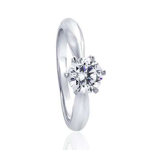 6 Prong Sterling Silver Diamond Simulant Ring, Round CZ Solitaire for Women