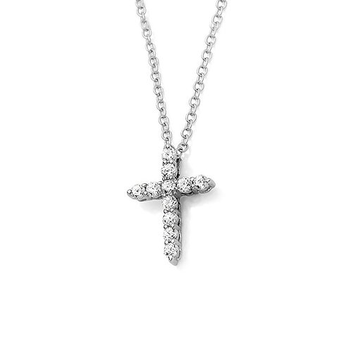 14K Plated Silver Necklace CZ Diamond Simulant Cross Pendant Necklace Chain
