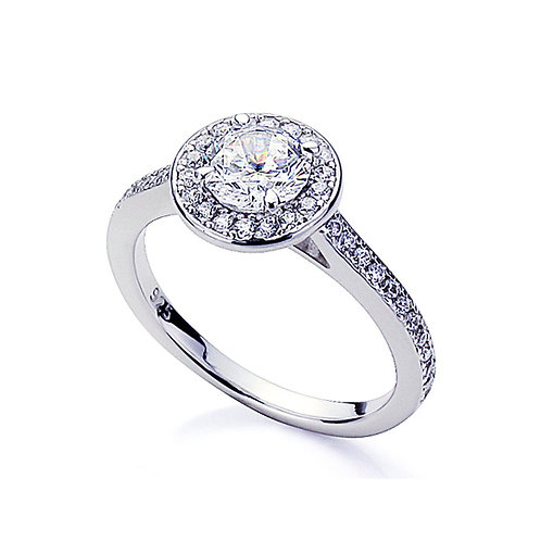 Simulated Diamond Engagement Ring, Classic Silver Platinum Halo Wedding Ring