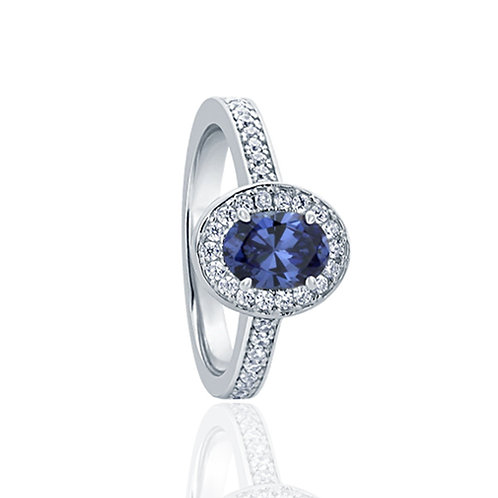 Sterling Silver Simulated Oval Halo Tanzanite Cocktail Ring Band for Women