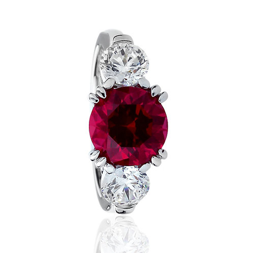Platinum Plated Silver Simulated Ruby CZ 3 Stone Anniversary Ring for Women