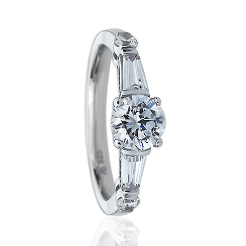 Platinum Plated Silver CZ Baguette Accent Simulated Diamond Ring for Women