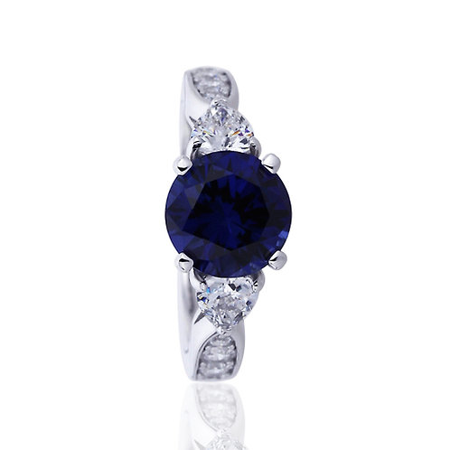 Platinum Plated Silver Sapphire CZ 3 Stone Wedding Engagement Ring Set for Women