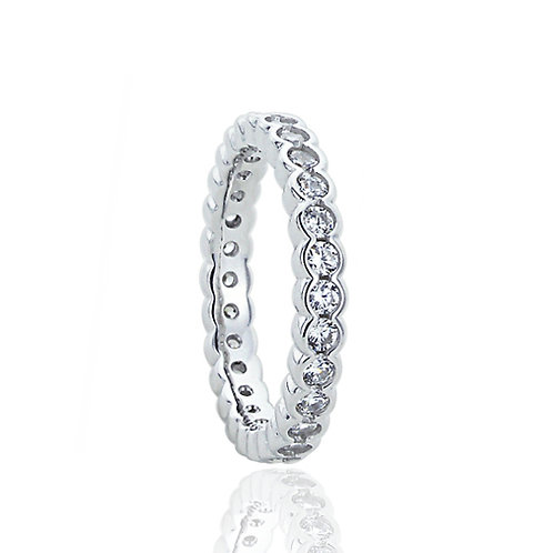 Sterling Silver Round CZ Flat Top Eternity Wedding Band for Women
