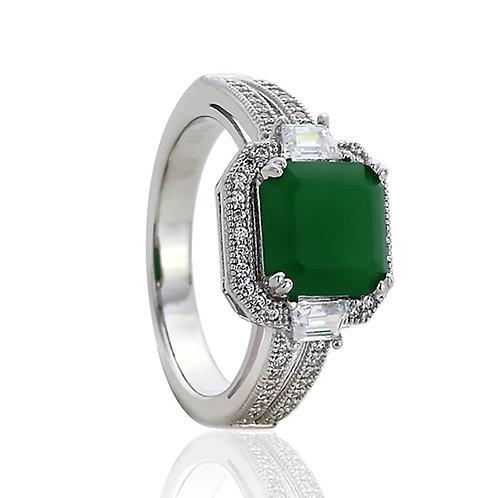 Silver Rhodium Plate Asscher Cut Simulated Jade CZ Anniversary Ring for Women