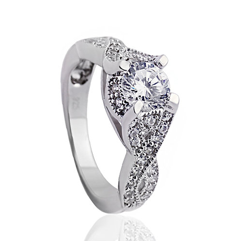 Simulated Diamond Engagement Ring, Silver Bypass Vintage Wedding Ring for Women