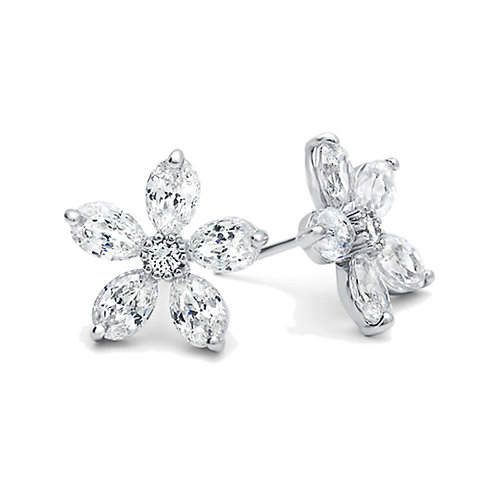 Rhodium Plated Sterling Silver Five Marquise CZ Flower Stud Earrings for Women