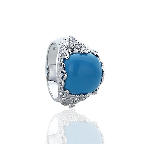 Sterling Silver Simulated Turquoise CZ Accent Cocktail Ring for Women