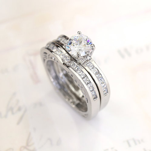 Silver Round CZ Stone Princess Channel Band, Heart Bridal Ring Set for Women