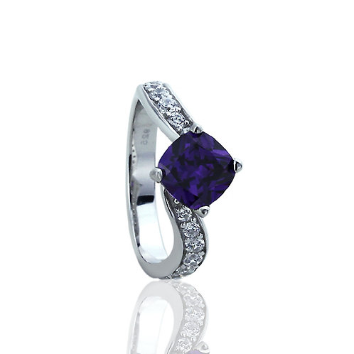 Sterling Silver Simulated Amethyst Cushion CZ Swirl Wedding Ring for Women