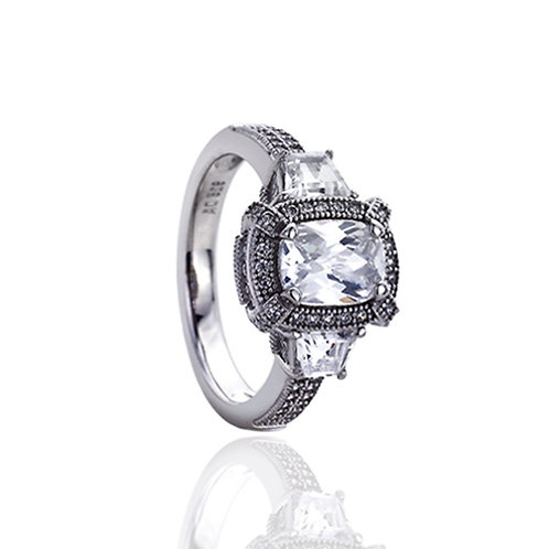 Sterling Silver Rhodium Plated Rectangular CZ Vintage Engagement Ring for Women