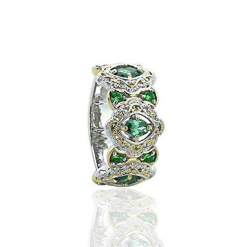 Silver 14K Gold Plated Two Tone Marquise Simulated Emerald CZ Ring for Women