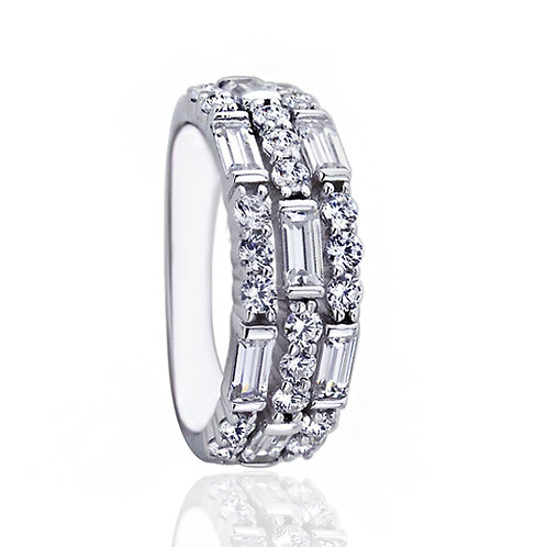 Platinum Plated Silver Round & Baguette 3 Row Diamond Simulant CZ Ring for Women