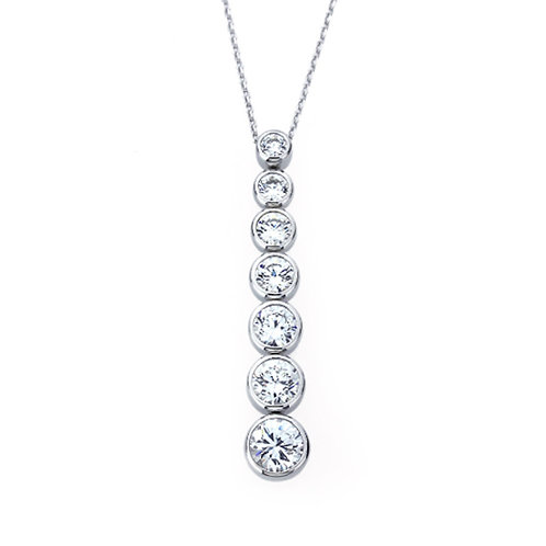 Platinum Plated Silver Diamond Simulant Seven Stone Pendant Necklace for Women