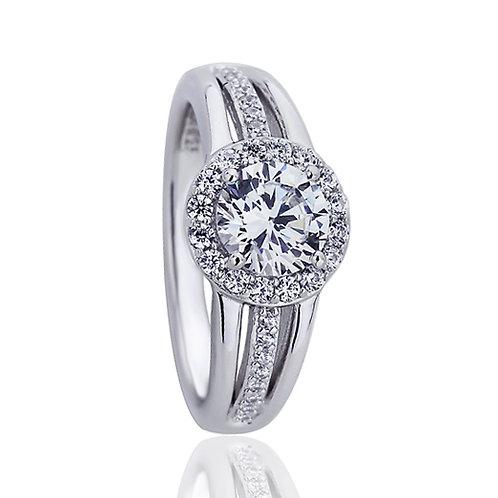 Platinum Plated Silver Diamond Simulant CZ Three Row Engagement Ring for Women