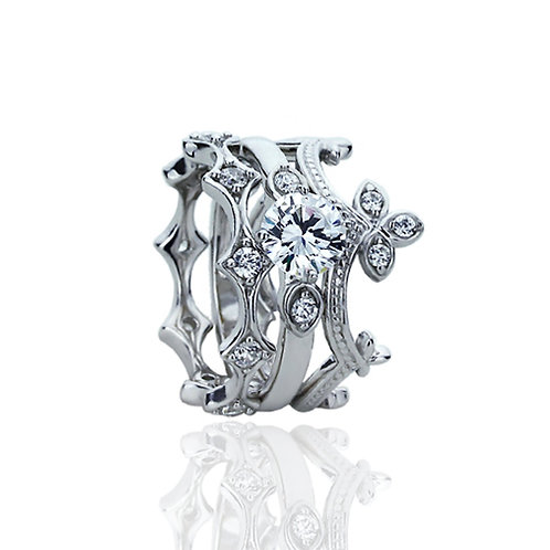 Sterling Silver Round CZ Matching Eternity Victorian Stackable Ring for Women