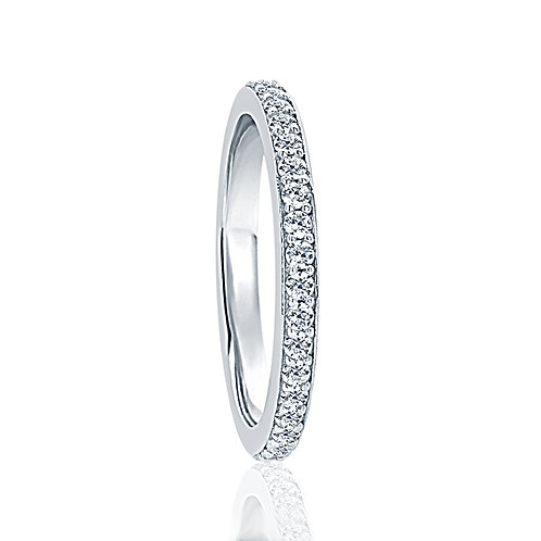 Sterling Silver Simulated Diamond Round CZ Stone Eternity Wedding Band for Women