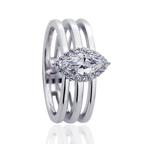 Platinum Plated Silver Marquise CZ Halo Wedding Engagement Ring for Women