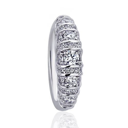 Platinum Plated Silver Round CZ Dome Band Wedding Engagement Ring for Women