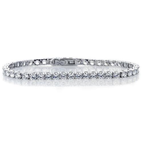 "7.5"" Rhodium Plated Silver 4 mm Round Cut Stone, Tennis Bracelet for Women"