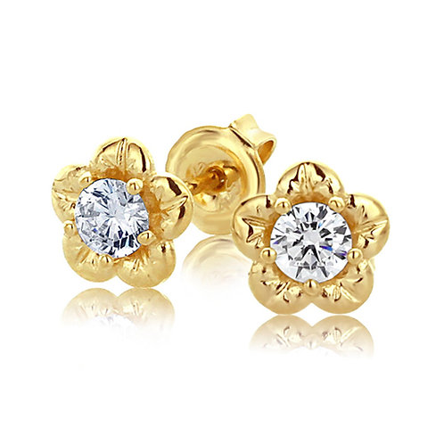 14K Yellow Gold Plated Sterling Silver Prong Set Flower Stud Earrings for Women