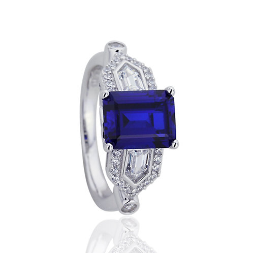 Platinum Plated Silver Sapphire CZ Wedding Engagement Ring Set for Women