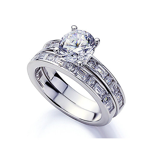 Simulated Diamond Engagement Ring, Platinum Plated Silver Baguette Wedding Ring
