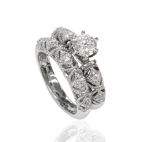 Simulated Diamond Ring Set, Silver Milgrain Filigree Bridal Design for Women