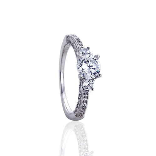 Sterling Silver Rhodium Plated Round CZ Vintage Style Engagement Ring for Women