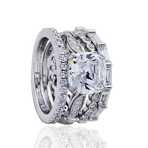 Platinum Plated Silver CZ Eternity Wedding Engagement Bridal Ring Set for Women