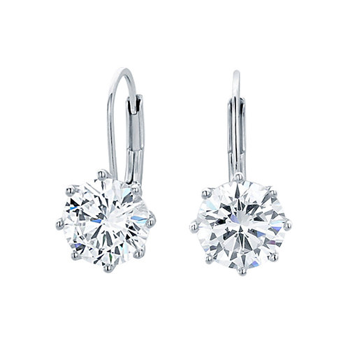 Rhodium Plated Queen's Crown Drop Earring, Round CZ Prong Set for Women