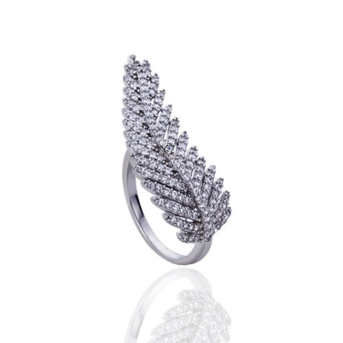 Sterling Silver Rhodium Plated CZ Beautiful Pave Leaf Right Hand Ring for Women